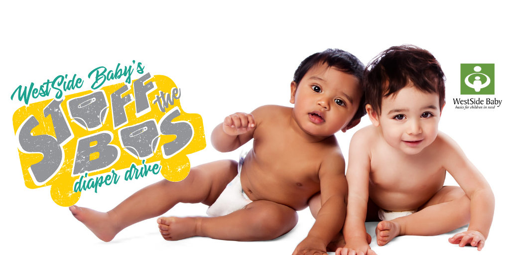 Two happy babies in diapers with the WestSide Baby Stuff the Bus yellow bus logo