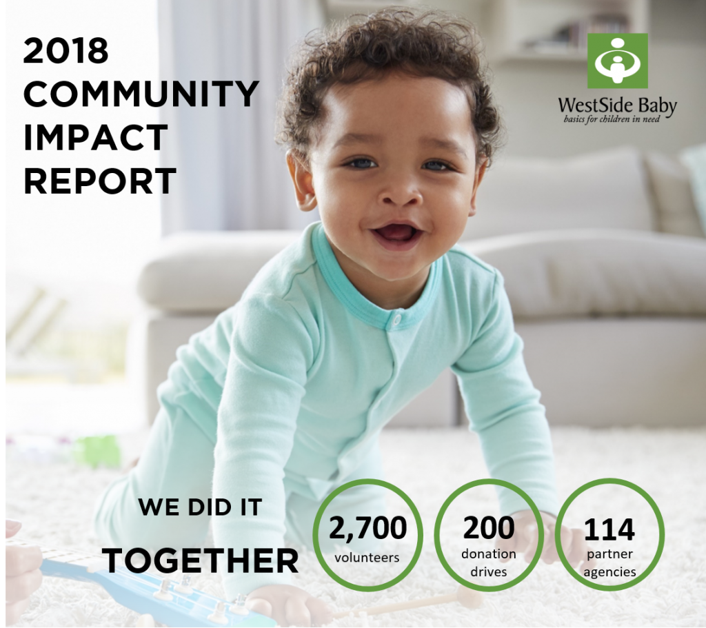 "Image of smiling baby in blue pajamas with the WestSide Baby logo and the words ""2018 Community Impact Report"""