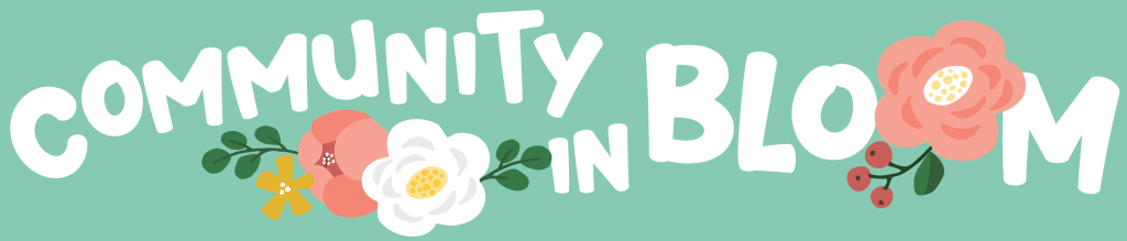 Text: Community in Bloom banner image with flowers